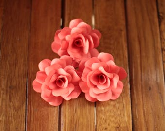 Coral paper flowers etsy 12 pcs coral paper roses for weddings and craft projects mightylinksfo