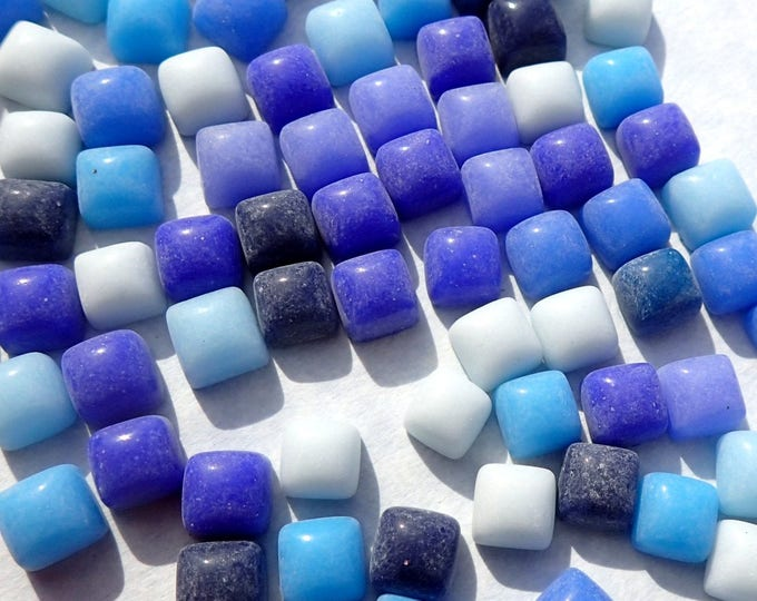 Out of the Blue Mix TINY Glass Tiles - 6mm Mini Mosaic Tiles - 100 Square with Domed Top - Use for Mosaic Jewelry Crystal