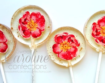 Mother's Day Gift, Flower Lollipops, Garden Party, Flower Party, Pink Flower, Sparkle Lollipops, Sweet Caroline Confections-6/Set