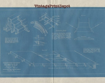 Vintage blueprints etsy concrete steps and porch with suggestions for the construction of forms blueprint blueprints wall malvernweather Image collections