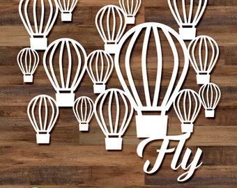Fly cut file set - 5 files, hot air balloons, svg cut files