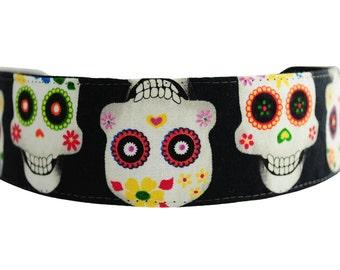 Skinny Headband, Super Cute Day of the Dead White Skulls and Flowers By Bargain Headbands