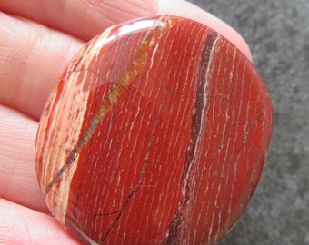 Beautiful patterened Red Jasper (23.1 grams / 42 mm) Palmstone or Worry Stone  (7)  - FREE UK POSTAGE