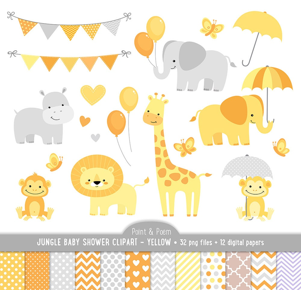 animals clip art  jungle animals baby shower yellow baby Vintage Baby Shower Clip Art Baby Boy Shower Clip Art