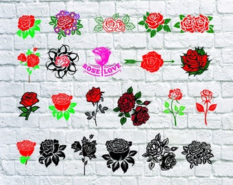 22 Red Rose Svg, Rose Silhouette, Rose Clipart - Rose Blossom, Flowers Svg, Red Roses Dxf, Png, Eps, Svg, T-Shirts Svg, Cut File.