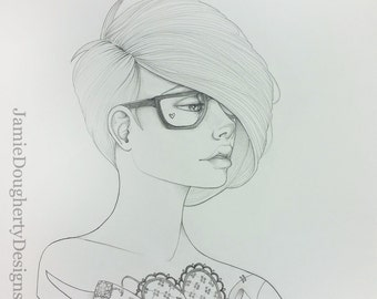 Craft Life tattoo bloom girl original drawing 11x14 Jamie Dougherty