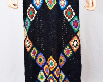 Vintage 1970's Women's MASKIT Crocheted Granny Square Wool HiPPiE BoHo Woodstock Maxi Dress Size S M