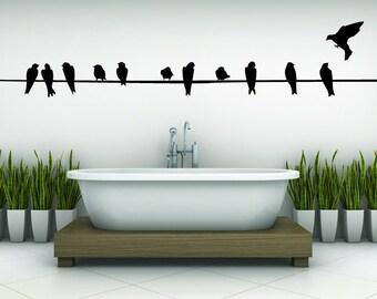 Birds on a Wire, Powerline, Bird Wall Decal, Power Line, Love Birds, Nursery Art, Bathroom Vinyl, Sticker, Wall, Bedroom, Office, Home Decor