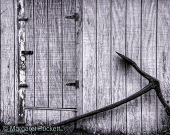 Anchor Against Shed, 8x10 print in an 11x14 black mat, Nautical, Still Life, Maine