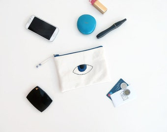 Evil Eye Pouch - Mom Boho Gift - Evil Eye Bag - Mobile Pouch - Gifts for Mum - Make Up Bag - Mini Clutch Bag - Hand Embroidered Pochette