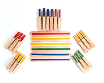 Clothespin Color Matching Busy Bag for Toddlers, Montessori Learning Activities for 2 - 3 Years Old Using Clothespins