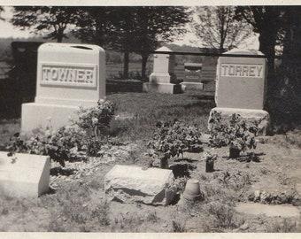 Original Vintage Photograph Snapshot Graves Headstones Cemetery 1910s