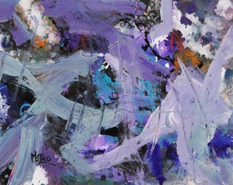 """Ice Castles - Abstract Painting - By Metro the Painting Racehorse 11x14"""""""