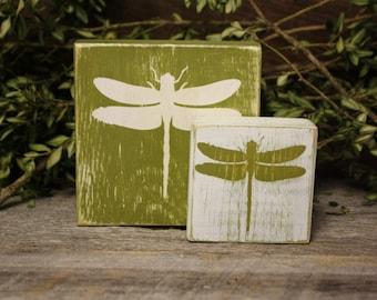 Dragonfly Blocks, Dragonfly Decor, Spring Summer Decor, Dragonfly Art, Dragonfly Home Decor