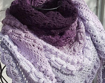 Crochet Teal Scarf, Purple Crochet Scarf, Blue Scarf, Pink Scarf, Ombre Scarf, Cotton Acrylic Scarf, Boho Crochet Shawl, Made To Order Scarf