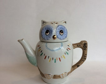 Small Chinese Lucky Owl Porcelain Teapot