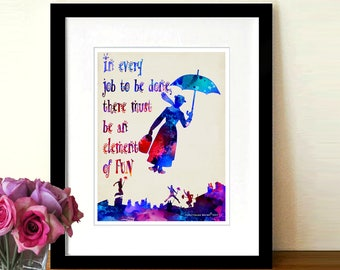 "Watercolor Mary Poppins print - ""Make Work Fun"", Mary Poppins Art, Childs Room Decor, Fun Children's Room decor, Clean Your Room print"