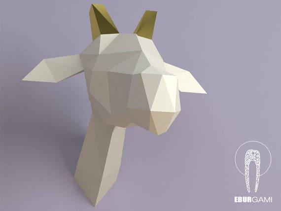 DIY Low Poly Giraffe Trophy Head Template