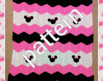 Minnie Mickey Mouse Crochet Pattern.  Minnie Mouse baby blanket pattern.