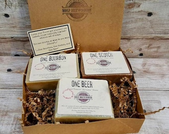 One Bourbon/ One Scotch/ and One Beer/ Soap Trio/ Cocktail Theme Soap Set