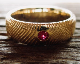 Finger Print Ring in 14K Yellow Gold with Round Ruby and Custom Name & Date Engraving Size 8
