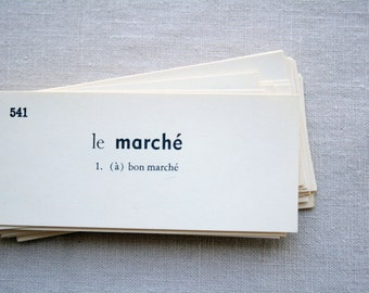 75 cents shipping! 30 Vintage French Flash Cards - Set of 30 French Vocabulary