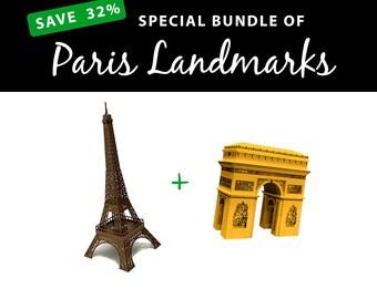 Paris Landmarks, SAVE 32% Papercraft Value Bundle || Eiffel Tower || Arc de Triomphe