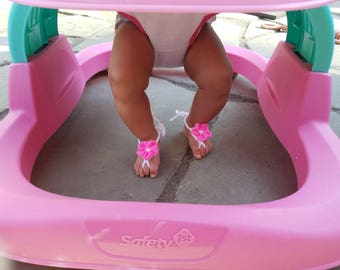 Baby Barefoot sandals - barefoot flip flops - baby sandals - summer baby shoes - baby barefoot flower shoes