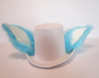Sparkly White and Blue Furry Tophat *Free Bowtie*