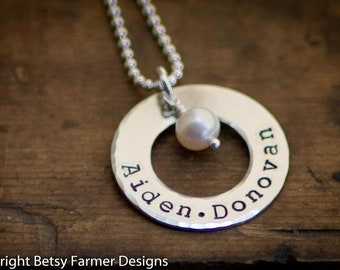 Personalized Necklace - Hand Stamped Jewelry - Mommy - Sterling Silver Washer Necklace
