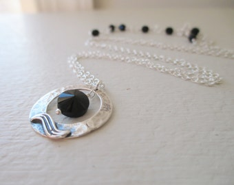 Dark Moon Necklace - Black Spinel and Sterling Silver Necklace - Worn on The Vampire Diaries - Season 5 Episode 18