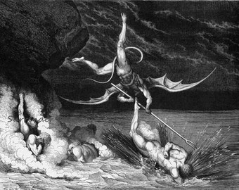 Alichino & Calcabrina Grapple Above Pitch Inferno Canto 22 Gustave Dore' Vintage Engraving Hell Black and White