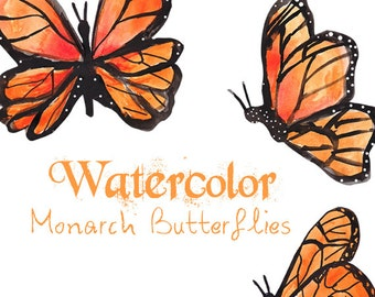 Watercolor Monarch Butterflies Clipart Commercial Use