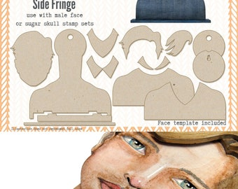 Mens Portrait Media Blanks ~ Side Fringe Kit ~ Paperbabe Stamps ~ MDF Substrate for mixed media and craft.