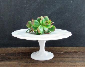 Vintage Indiana Glass Cake Plate, Milk Glass Pedestal Cake Stand, Vintage Milk Glass, Wedding Cake Plate,Bridal Shower Gift, Farmhouse Decor