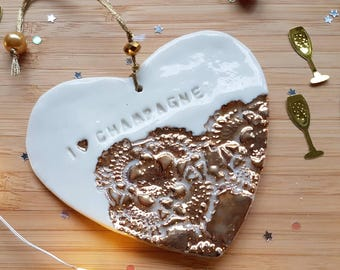 I love Champagne, champagne gift, champagne decoration, champagne heart, gold porcelain heart, birthday, mother's day gift