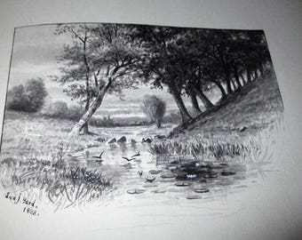 Original 1888 Sydney J. Yard Watercolor Painting Country Landscape Pond In 1886 Alfred Tennyson Song Of The Brook Book