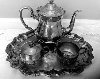 Silver Plated tea sevice,platter, Entertaining Dinning,Tea Service tray, tea set, coffee set,