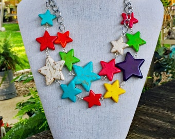 Colorful Bib of Stars Necklace