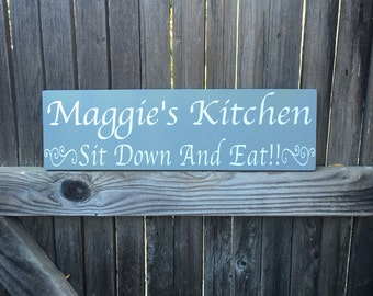 Wooden Kitchen Sign Personalized Kitchen Sign Kitchen Decor  Dining Room Wall Decor Kitchen Signs  Home Decor