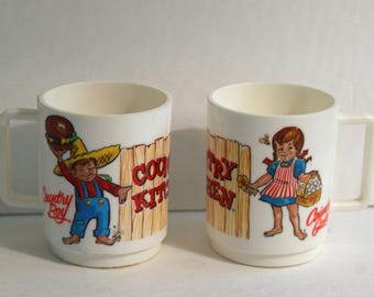 Country Kitchen Restaurant Cups Set of 2 Country Boy Country Girl Vintage 1975 by Deka