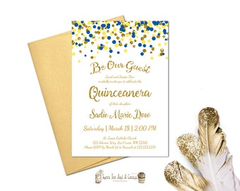 Beauty and the Beast Quinceanera Invitation Blue Yellow Gold Fairy tale Princess Birthday Party Sweet Fifteen Sixteen Printable of Prints