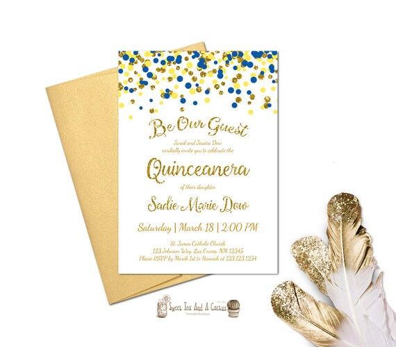 Beauty and the Beast Quinceanera Invitation Blue Yellow Gold
