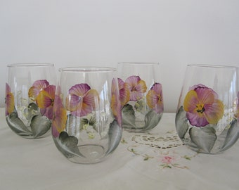 Wine Glasses stemless Pansies hand painted, great Mothersday, Birthday, Bridal, Housewarming gift, gift for her, Teacher, unique gifts