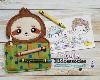 Sloth Crayon Holder - Sloth Crayon Caddy - Coloring Pencils Holder - Accessories for Kids - Candy Coloring Holder - Sloth Party Favor