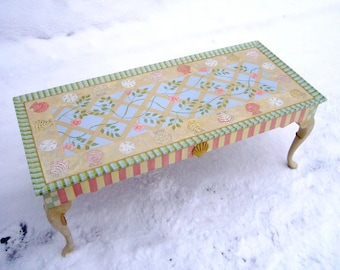 CUSTOM One of a kind hand painted coffee table with shells and roses