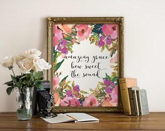 Printable verses, Amazing grace wall art print, Christian wall art, Home decor, Amazing grace sign, how sweet the sound Christian art BD-989