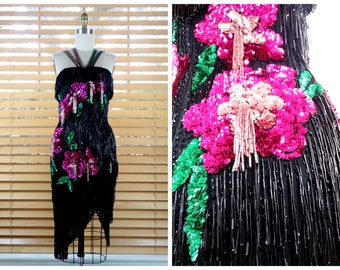 DAZZLING Fringe Beaded Sequin Dress / Floral Beaded Sequined Tassel Trophy Dress / HEAVY All Fringed Dress with Pink Flowers