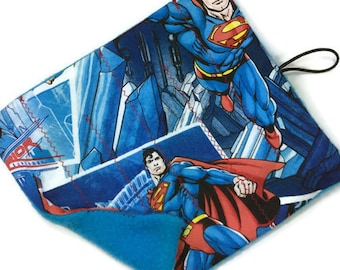 Superman marble maze game RTS Level 1, roll up fabric maze, superhero print cotton boy marble maze, autism child adult stocking stuffer gift