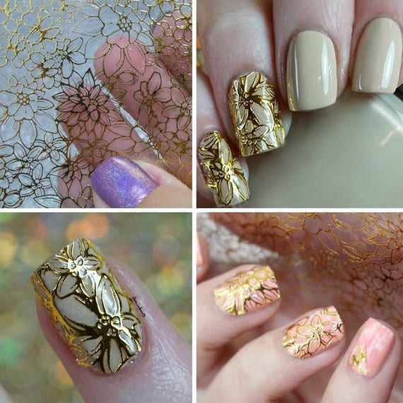 1 Sheet Embossed 3D Nail Stickers Decoration, Nail Blooming Flower ...